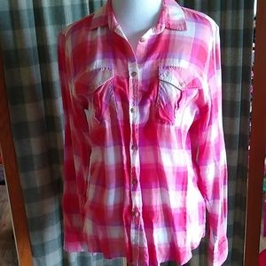 American Eagle Button-front Plaid Shirt - Med